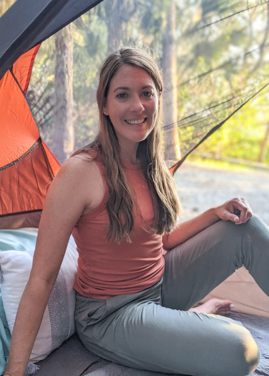 Camping with 32 Degrees joggers and high neck ribbed tank