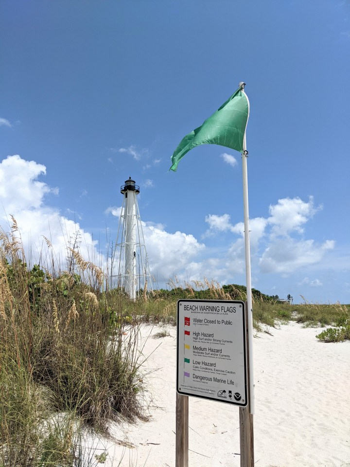 Gasparilla Island State Park, beach warning flag. Everything was green on this day.