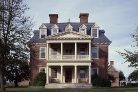 Manor home of Shirley Plantation, Virginia's oldest plantation, founded in 1613 in Charles City, Virginia. Source: Library of Congress