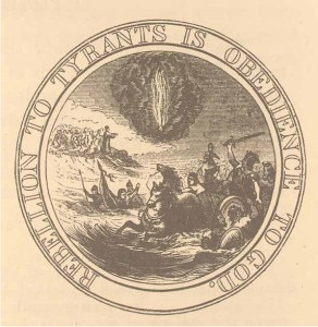 In 1776, Thomas Jefferson, Benjamin Franklin, and John Adams proposed this image for the Great Seal of the United States. The image depicts Pharaoh's army drowning as Moses closes the Red Sea upon them, while the pillar of fire guides God's chosen people. The motto suggests that Moses' actions (and those of the American Revolutionaries) were sanctioned by God. Source: Library of Congress.