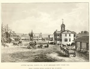 Center square of Easton, PA, 1780. The building in the center-right with the steeple is the County Court House that sat the Committee of Observation.