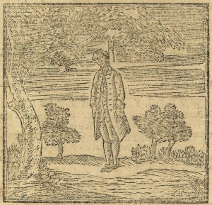 Woodcut depicting James Rivington being hung in effigy as it appeared in Rivington's New-York Gazetteer, April 20, 1775.