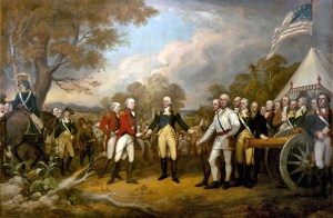"""Surrender of General Burgoyne"" by John Trumbull. The central figure is General Horatio Gates, who refused to take the sword offered by General John Burgoyne, and, treating him as a gentleman, invites him into his tent. Source: Architect of the Capitol"