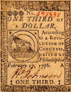 Example of Continental currency, dated 17 February 1776.