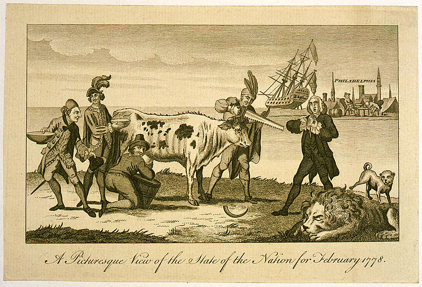 """""""A picturesque view of the state of the nation for February 1778."""" This political cartoon shows America cutting off the cow's hornns of British commerce.  Dutch, French and Spanish men are lining up to milk the cow, while a distraught Englishman stands nearby. The British lion is asleep while a dog is relieving himself on it. In Philadelphia, the Howe brothers appear drunk or passed out. Source: Library of Congress"""