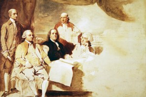 The Peace Commissioners. Unfinished portrait by Benjamin West showing the American peace commissioners who met with the British representatives in Paris: John Jay, John Adams, Benjamin Franklin, and Henry Laurens. The figure behind Franklin is his grandson. (The Henry Francis DuPont Winterthur Museum, Wilmington, Delaware)