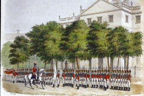 No illustrations survive depicting the uniform of the Governor's Foot Guard. This illustration, from an 1845 issue of The Hartford Courant, shows the unit as it looked in the 19th century with ceremonial uniforms. (Connecticut Historical Society)