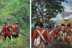 "British soldiers in uniforms from the Seven Years War (left; detail of ""Royal Americans by Pamela White, whitehistoricart.com) and from the Revolutionary War (right; detail of ""Placing the Guards by Pamela White, whitehistoricart.com)."