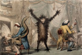 """A 1788 satirical print titled """"Ague & Fever"""" depicting a patient (left), a doctor (right) and a fever as a furry monster. (The British Museum)"""
