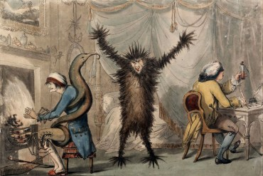 "A 1788 satirical print titled ""Ague & Fever"" depicting a patient (left), a doctor (right) and a fever as a furry monster. (The British Museum)"