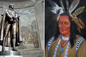 Left: Statue of George Rogers Clark inside the Clark Memorial (National Park Service); Right: Shawnee Indian Chief Cornstalk 1720-1777 (Smithrebellion1765.com)