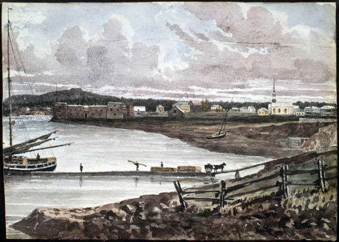 """""""View of Fort and Chambly Church,"""" (1838) by Philip John Bainbridge. (Library and Archives Canada)"""
