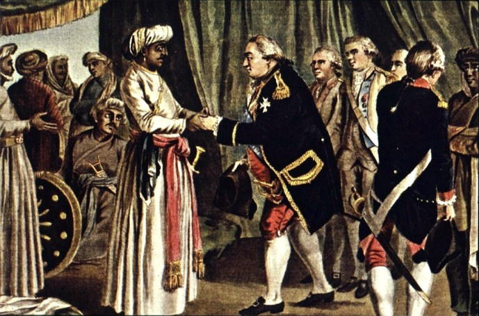 French Admiral Suffren meeting with Hyder Ali in 1782, J.B. Morret engraving, 1789. (The History Project at University of California, Davis)