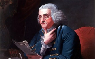 Franklin in London, 1767, wearing a blue suit with elaborate gold braid and buttons. Detail of painting by David Martin, displayed in the White House.