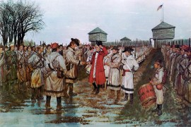 Lt Governor Henry Hamilton surrenders to Col George Rogers Clark, 24 February 1779 (U.S. Army Center of Military History)
