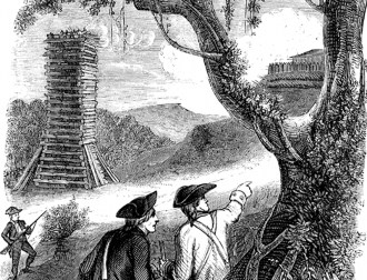 Nineteenth-century engraving depicting the siege tower Francis Marion used to force the surrender of Fort Watson in South Carolina in April 1781. (Wikimedia Commons)