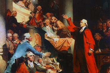 "Detail of Peter F. Rothermel's ""Patrick Henry Before the Virginia House of Burgesses"", a painting of Patrick Henry's ""If this be treason, make the most of it!"" speech against the Stamp Act of 1765."