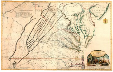 A Map of the Most Inhabited Part of Virginia Containing the Whole Province of Maryland: With Part of Pensilvania, New Jersey and North Carolina, 1755. (Library of Virginia)