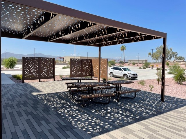 Sunshade Canopy made of Steel in Glendale Arizona Steel Erection Fabrication Phoenix Arizona
