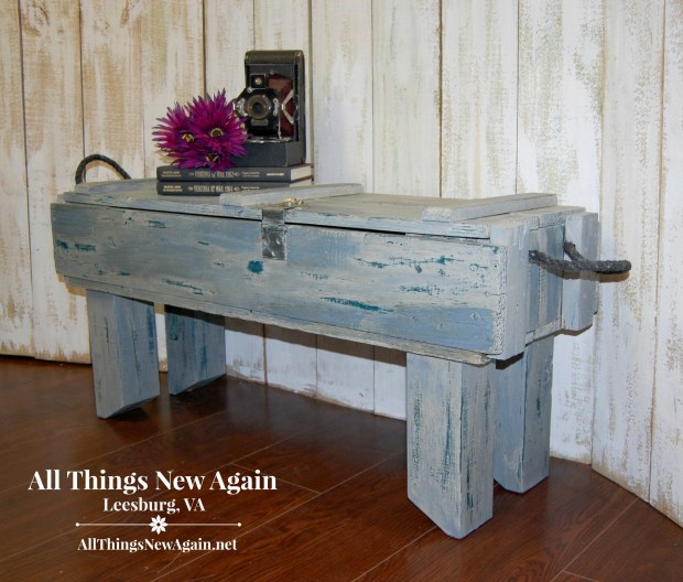 Gray Storage Bench | Storage Ideas | Wooden Box Repurposed into Storage Bench | All Things New Again