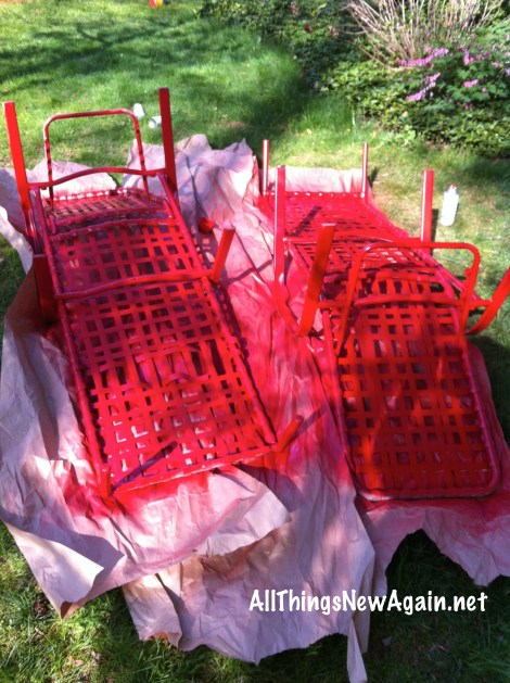 Spray paint is an easy and inexpensive way to freshen up outdoor patio furniture.