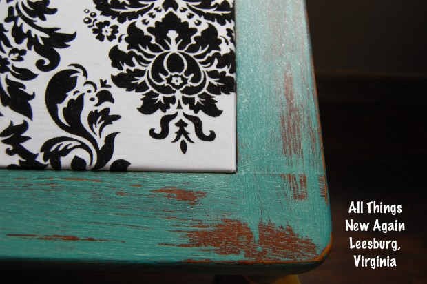 Table updated with paint and fabric | By All Things New Again furniture store in Leesburg, VA
