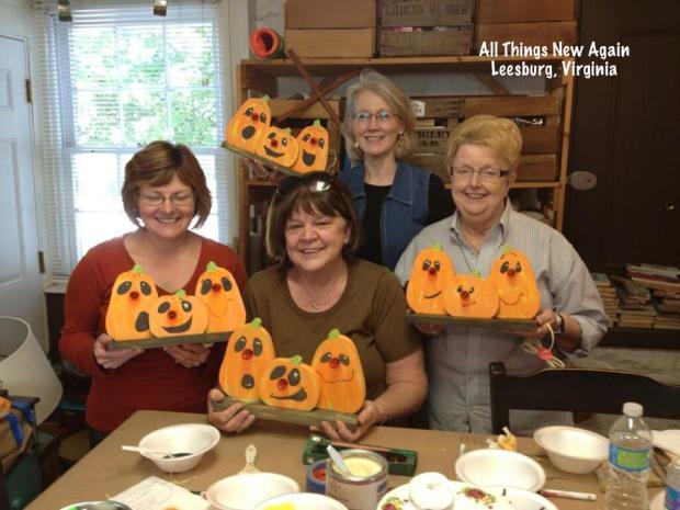 pumpkin painting workshop students