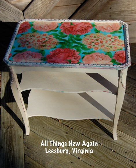 Tips for Decoupaging Paper Napkins onto Furniture | Decoupage Table | All Things New Again