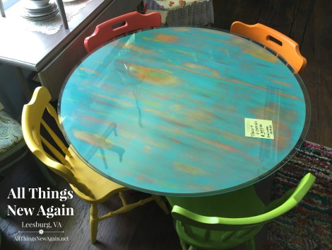 rainbow table and chairs