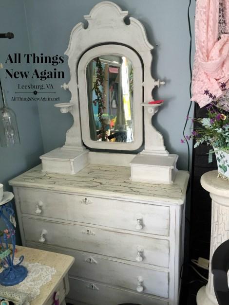 white cottage dresser and mirror