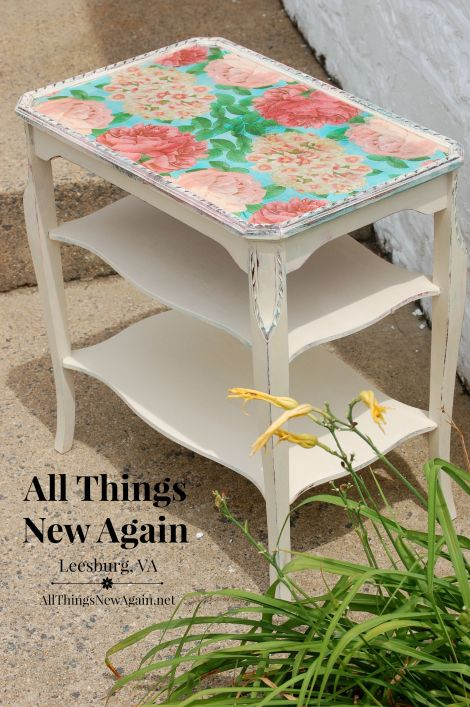table with floral napkin decoupage