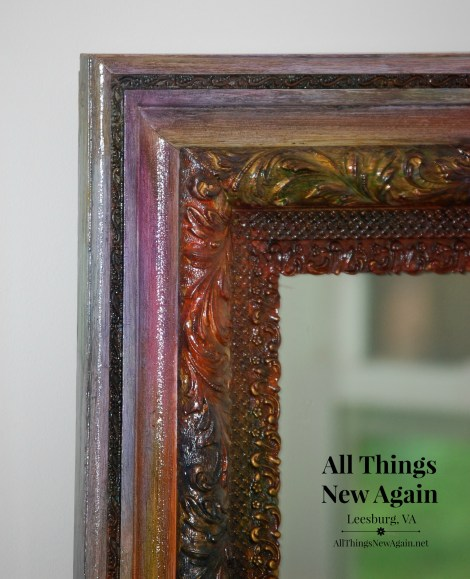 Yard sale mirror up cycled with Unicorn Spit   rainbow gel stain   colorful home decor