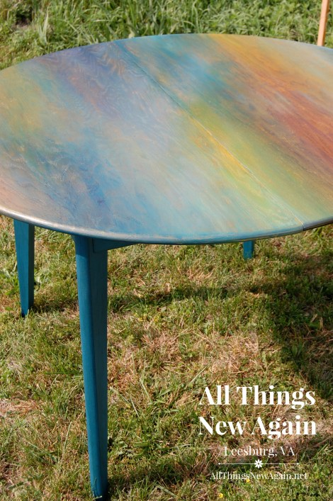Yard sale table stained with Unicorn SPiT   Rainbow gel stain   Colorful furniture makeovers   up cycle