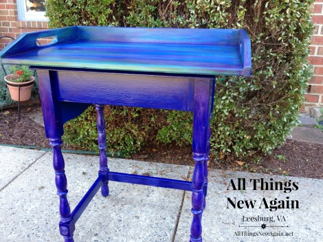Sewing table up cycled with Unicorn Spit rainbow gel stain