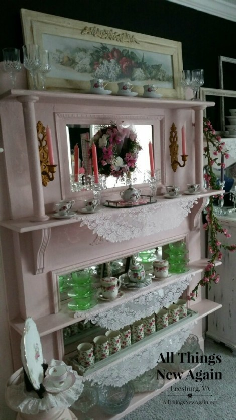 china cabinet made from old mantel