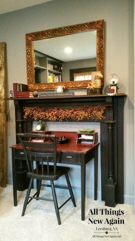 vintage fireplace mantel used around desk