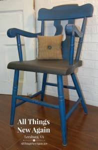 Navy Blue Painted Chair with Black Seat