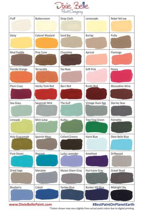 Dixie Belle Paint | Chalk and Mineral Paint | Color Chart 2017