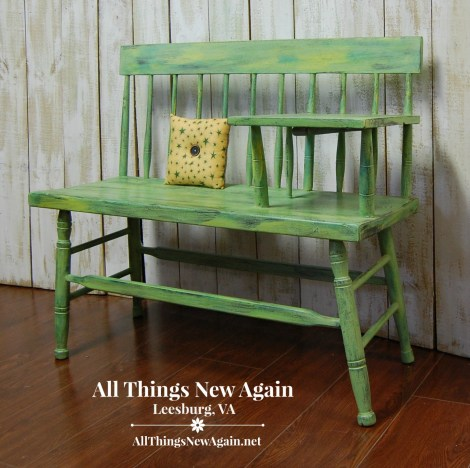 Green Furniture Makeovers | Painted Furniture | Vintage Gossip Bench | Telephone Bench Painted Green