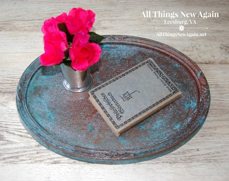 Dixie Belle Paint | Patina Collection | How to Transform Outdated Yard Sale Art | Create a Patina Tray | Home Decor Ideas