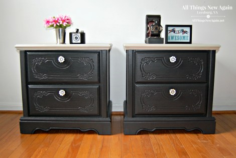 Pretty Painted Nightstands | Dixie Belle Paint | Bedroom Furniture Ideas | Painted Furniture | Black Furniture Makeover