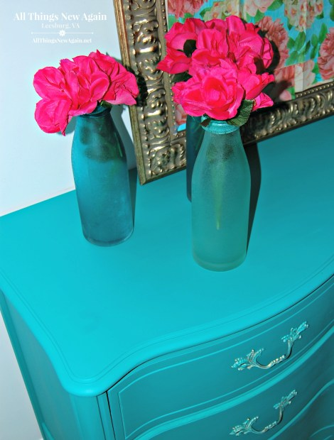 Painted Furniture | French Provincial Dresser | Dixie Belle Paint | chalk mineral paint | Mermaid Tail | teal painted furniture