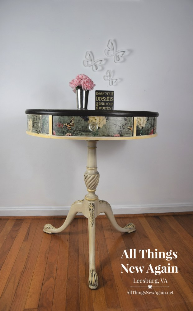 Vintage Drum Table_All Things New Again_Leesburg VA_Painted Furniture