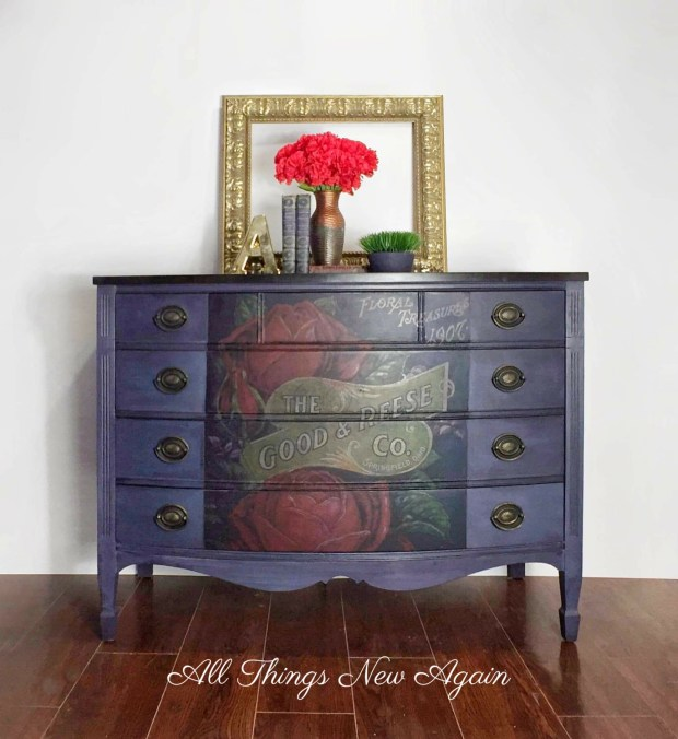 Navy Blue Dresser | Real Milk Paint Company | Navy Blue Furniture | Painted Furniture | Redesign with Prima | Furniture Transfer