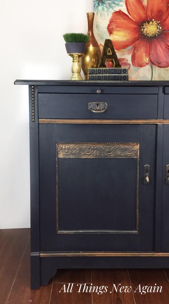 Dixie Belle Paint | Navy Blue | Copper Gilding Wax | Navy Blue Furniture | Painted Furniture | Blue Buffet | Leesburg VA