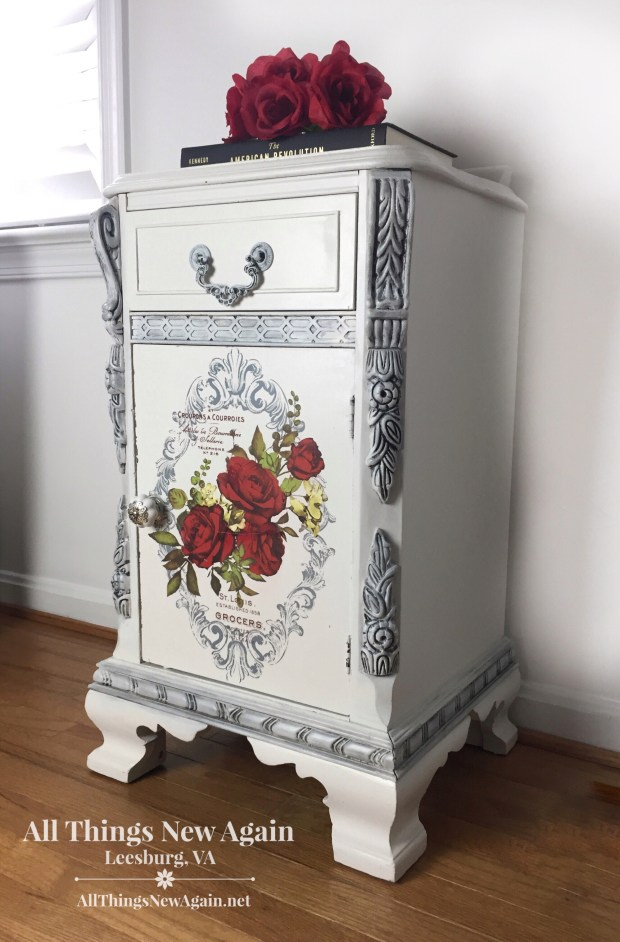 Painted Furniture | Vintage Nightstand | White Furniture | Wild Roses furniture transfer | All Things New Again