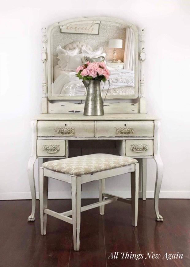 Vintage Vanity   Make-up Vanity   Vanity Desk Painted White   Vanity with Mirror and Bench