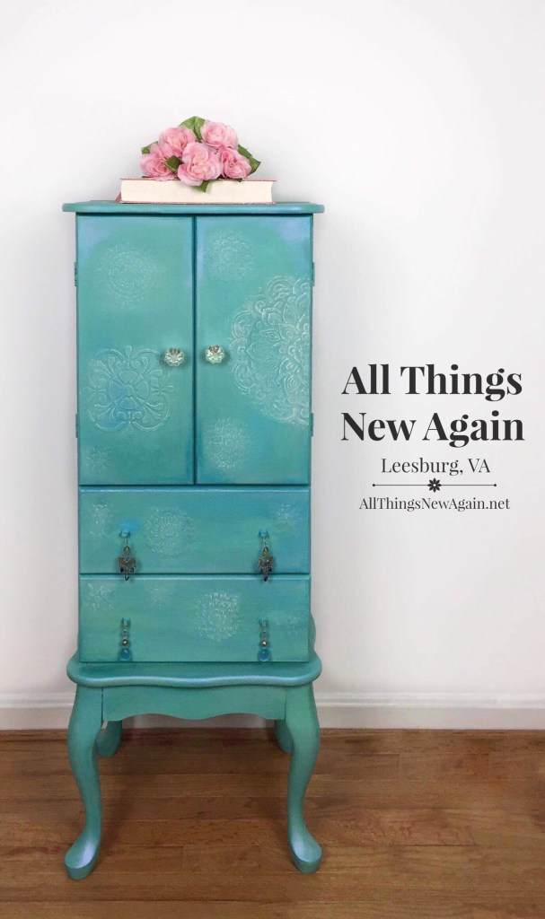 2019 painted furniture | jewelry armoire | Dixie Belle Paint | raised stencils