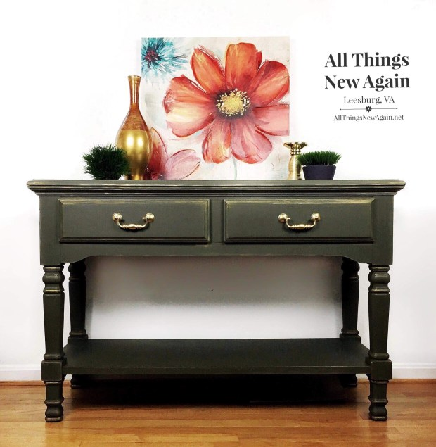 Green Sideboard | Green Buffet | Green Sofa Table | Dixie Belle Paint Collard Greens