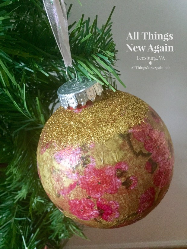 The Simple Secret to Beautiful Decoupage Ornaments | By All Things New Again